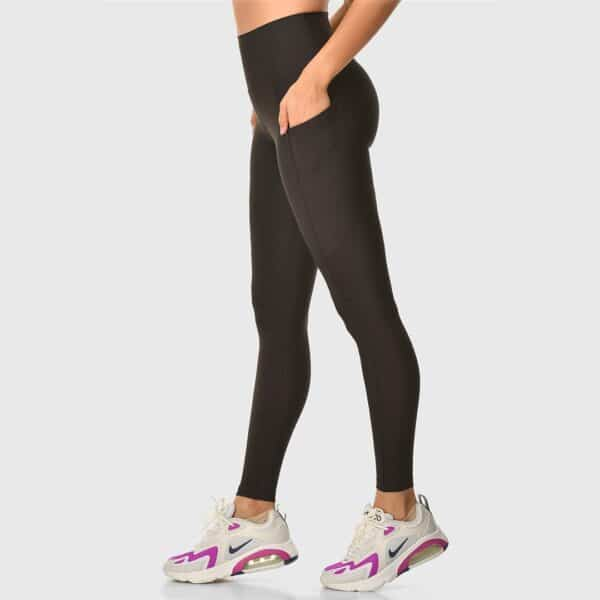 High Waisted Pocketed Black Sports Tights 2476-06
