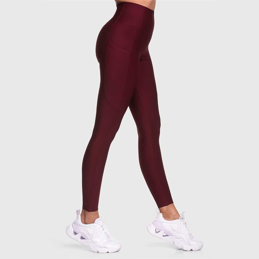 High Waisted Pocketed Claret Red Sports Tights 2476-01