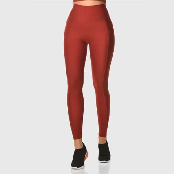 High Waisted Pocketed Claret Red Sports Tights 2476-09