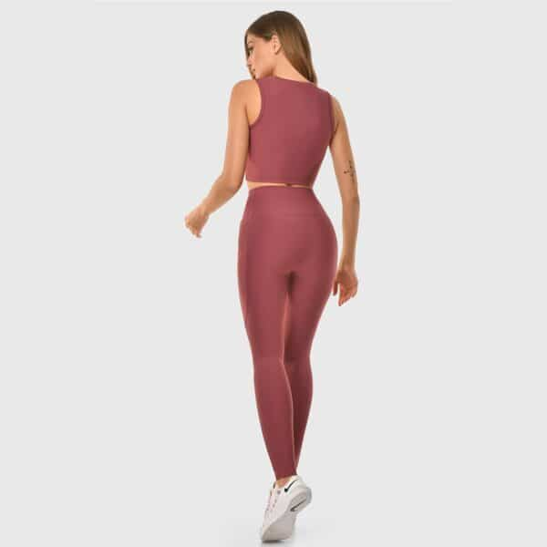 High Waisted Pocketed Dried Rose Sports Tights 2476-07