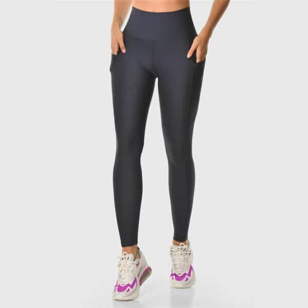 High Waisted Pocketed Navy Sports Tights 2476-02