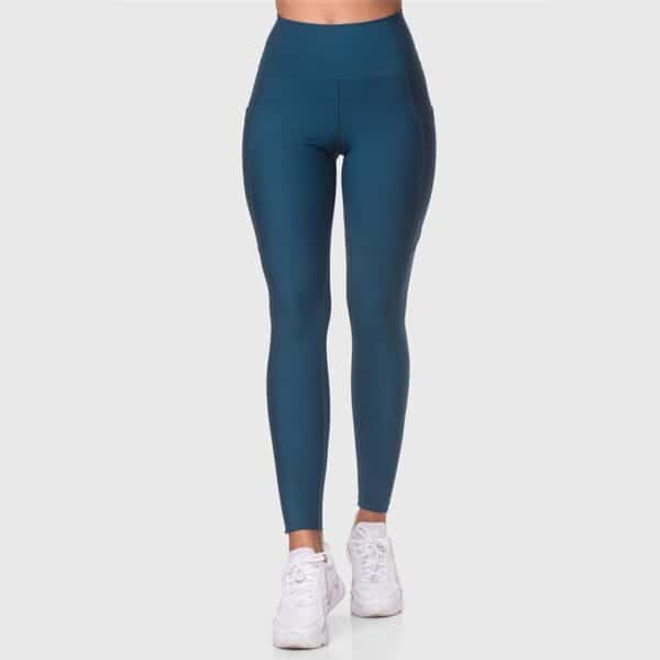 High Waisted Pocketed Patrol Blue Sports Tights 2476-28